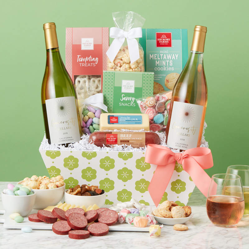 Spring Premium Treats & Wine Gift Basket
