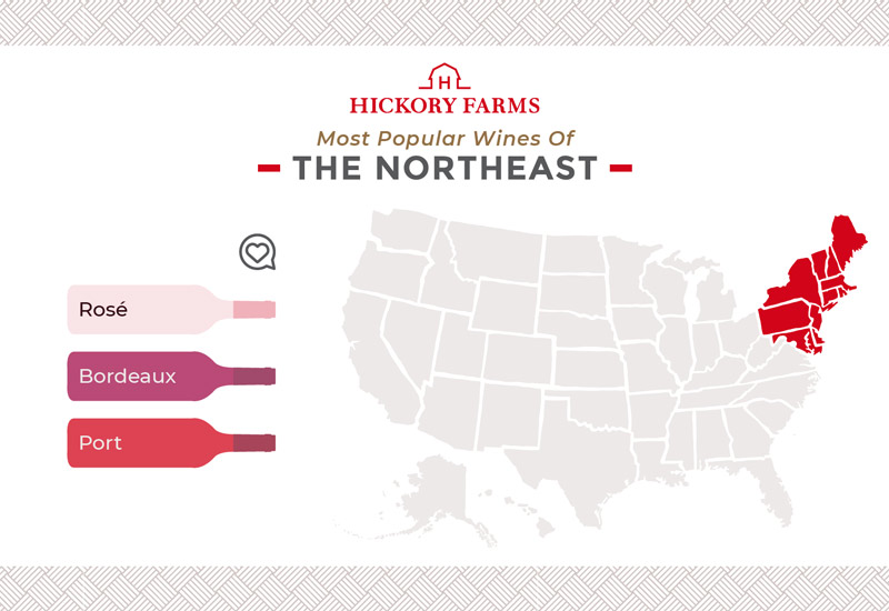 A graphic of a map that focuses on the most popular wines in the Northeast region of the United States, including Rosé, Bordeaux, and Port