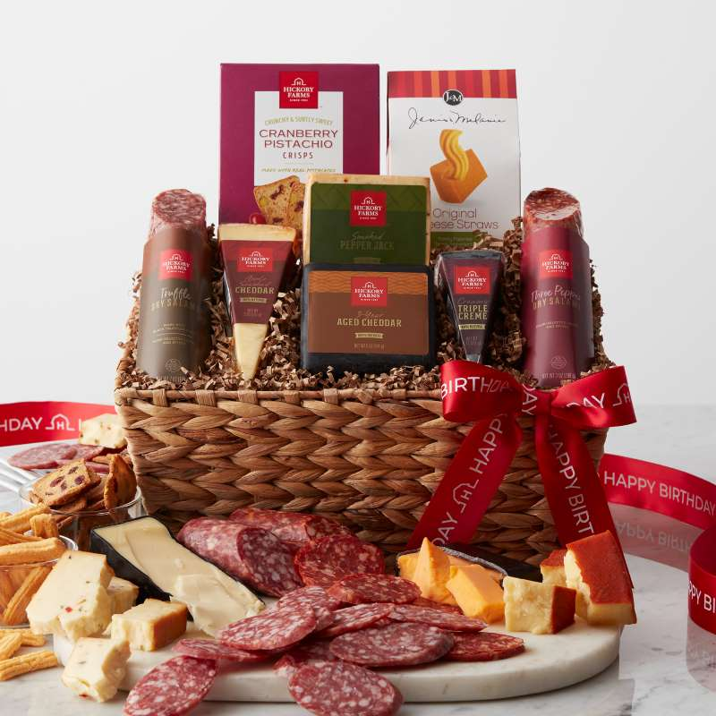 Top Gifts for All Occasions - Happy Birthday Artisanal Salami & Cheese Gift Basket