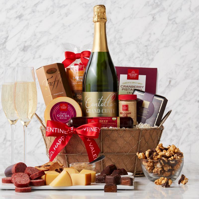 Valentine's Day Sparkling Wine Gift Basket