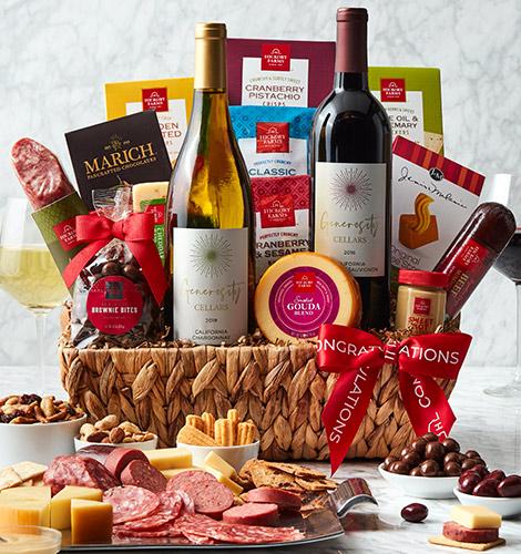 Picnic Basket containing sausage, cheese, napkins, and chocolates.