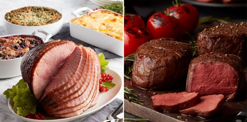 Guide to Holiday Business Gift Ideas - Deluxe Holiday Ham Dinner and 8-oz Filet Mignon