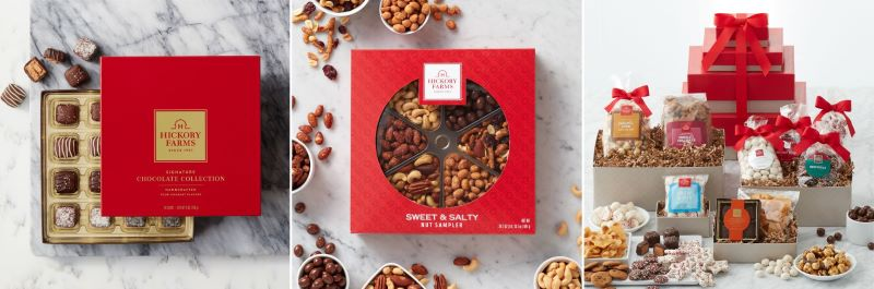 Guide to Holiday Business Gift Ideas - Signature Chocolate Collection, Sweet and Salty Nut Sampler, and Sweet Treats Gift Tower