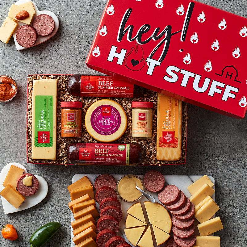 Hot Stuff Summer Sausage and Cheese Gift Box