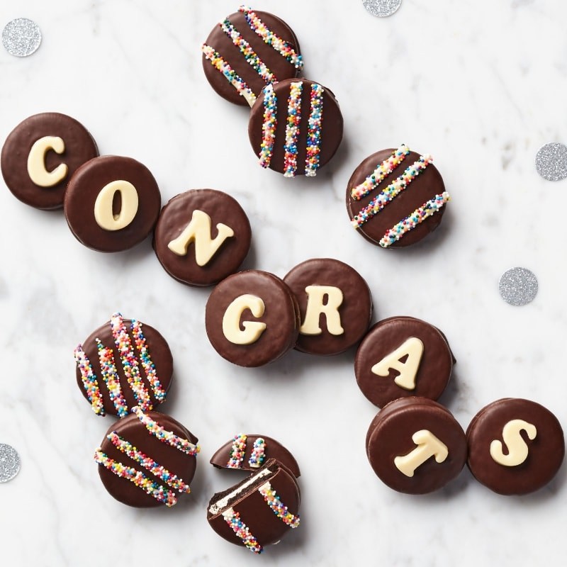 Congratulations Chocolate Covered Sandwich Cookies