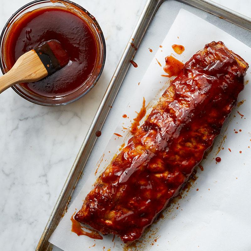 Rib prep with sauce