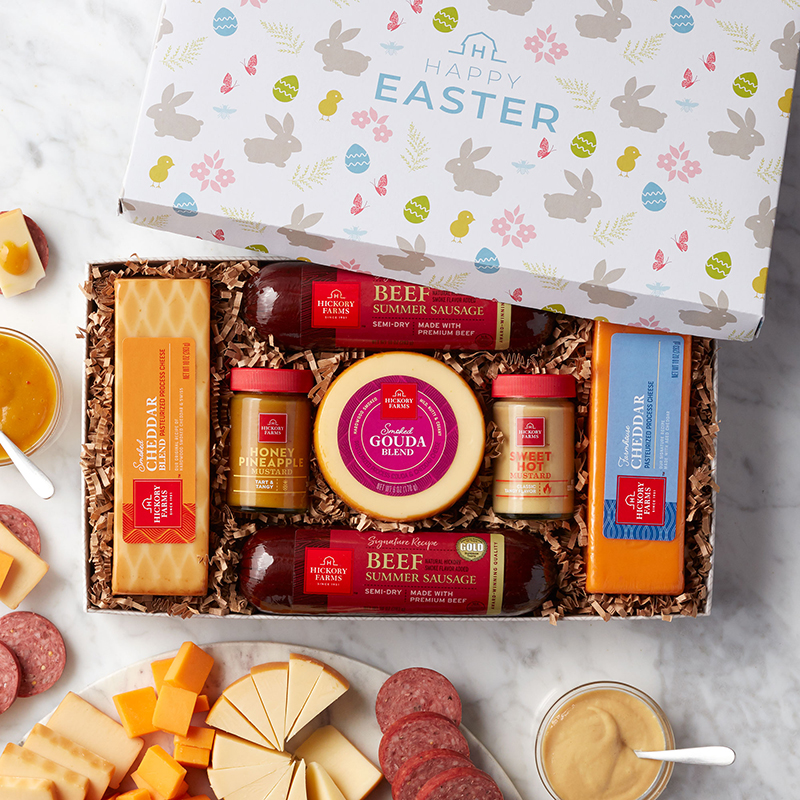 Happy Easter Summer Sausage & Cheese Gift Box