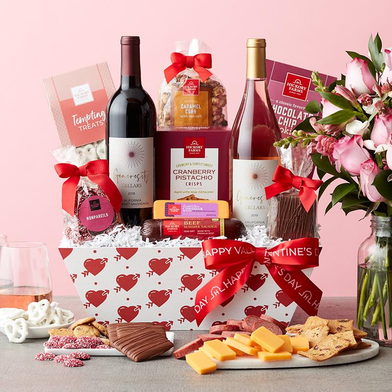 Valentine's Day Premium Treats & Wine Gift Basket