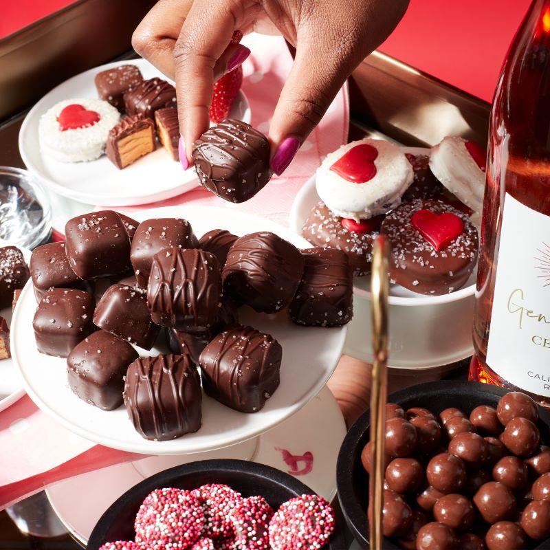 Galentine's Day Bar Cart Chocolates
