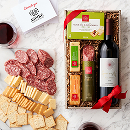 Wine and savory snack collection