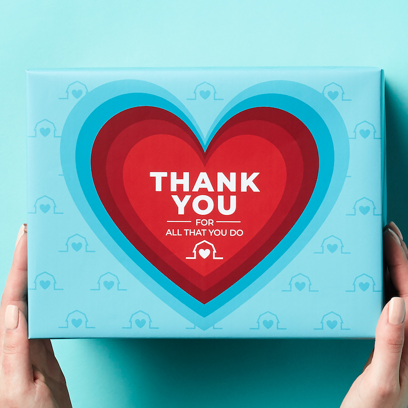 Appreciation Gift Ideas for Essential Workers - Header Gift Box Lid says Thank You
