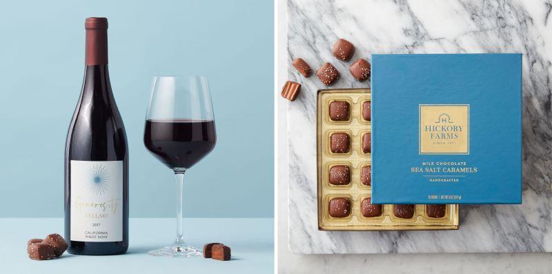 Valentine's Genoristy Cellars California Pinot Noir 2017 and Milk Chocolate Sea Salt Caramels 16ct