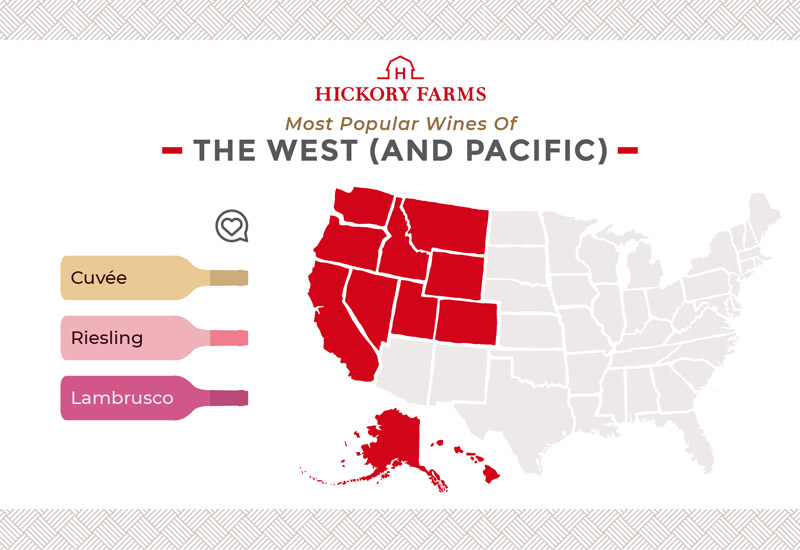 A graphic of a map that focuses on the most popular wines in the West and Pacific regions of the United States, including Cuvée, Riesling, and Lambrusco