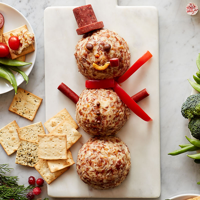 snowman cheeseball for easy holiday recipe and holiday entertaining