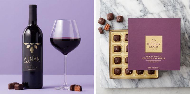 Valentine's Aunar California Cabernet Sauvignon 2018 and Dark Chocolate Sea Salt Caramels 16ct
