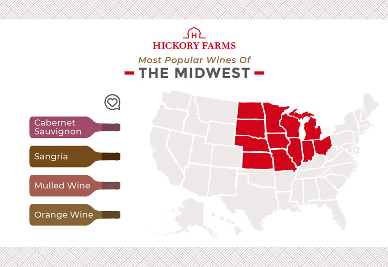 A graphic of a map that focuses on the most popular wines in the Midwest region of the United States, including Cabernet Sauvignon, Sangria, Mulled Wine, and Orange Wine