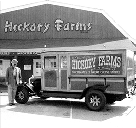 Man standing outside the storefront of the first Hickory Farms retail store in 1959.