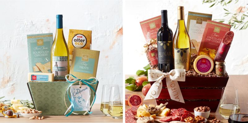 Guide to Holiday Business Gift Ideas - California Chardonnay Wine Gift Set and California Getaway Wine Gift Basket