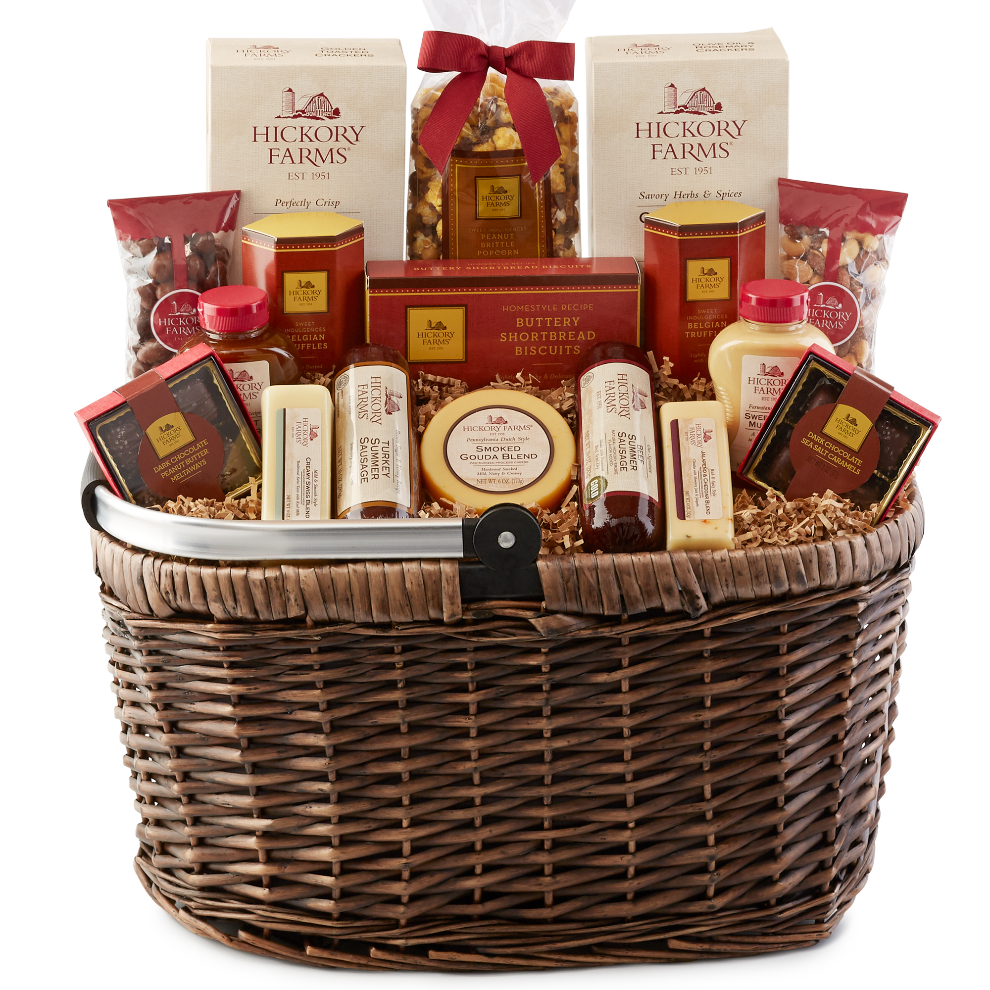 Hickory Farms Picnic Basket includes sausage, cheese, mustard, crackers, nuts, and