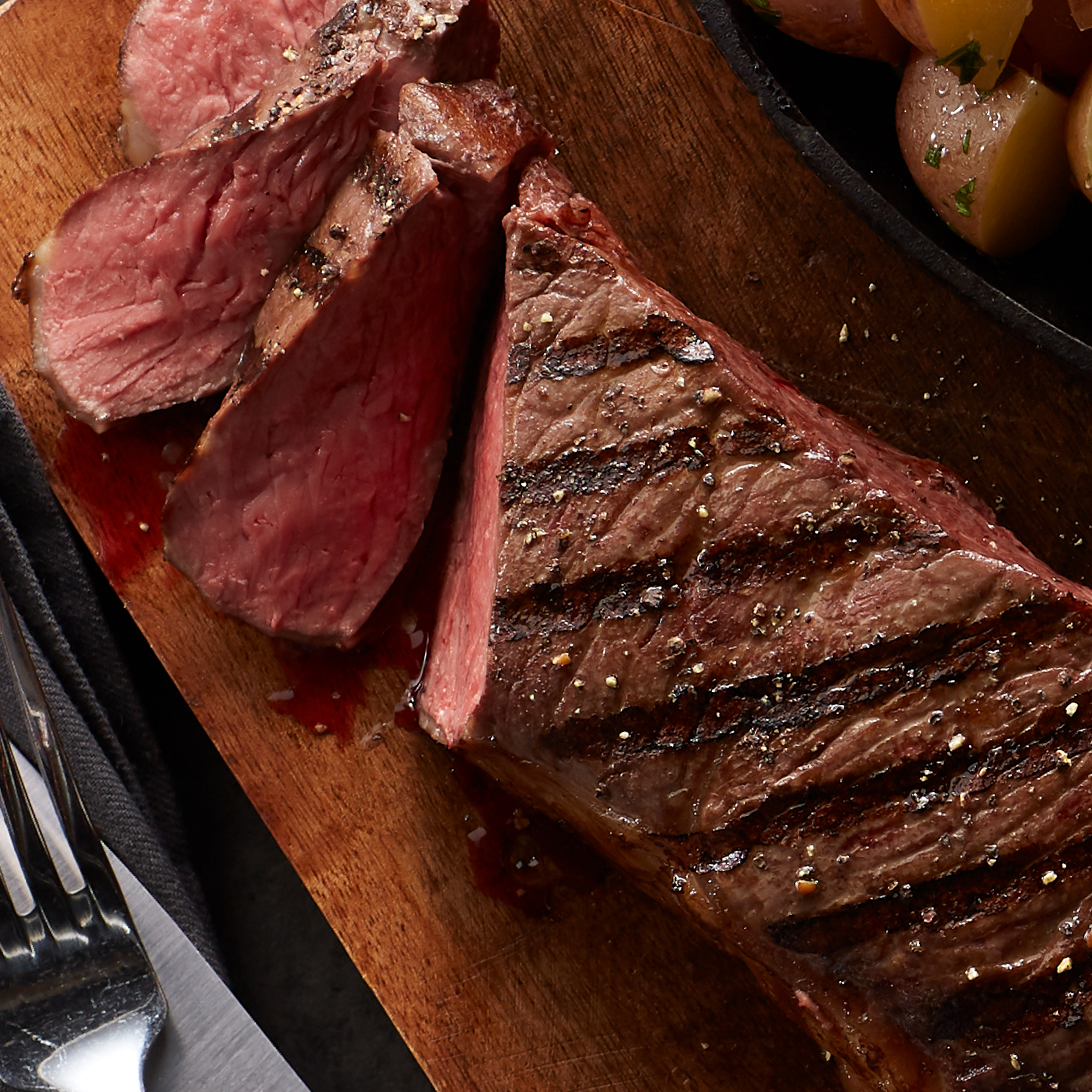Whether grilled, broiled, sautéed or pan-fried, our New York Strip is thick, juicy and bursting with flavor.