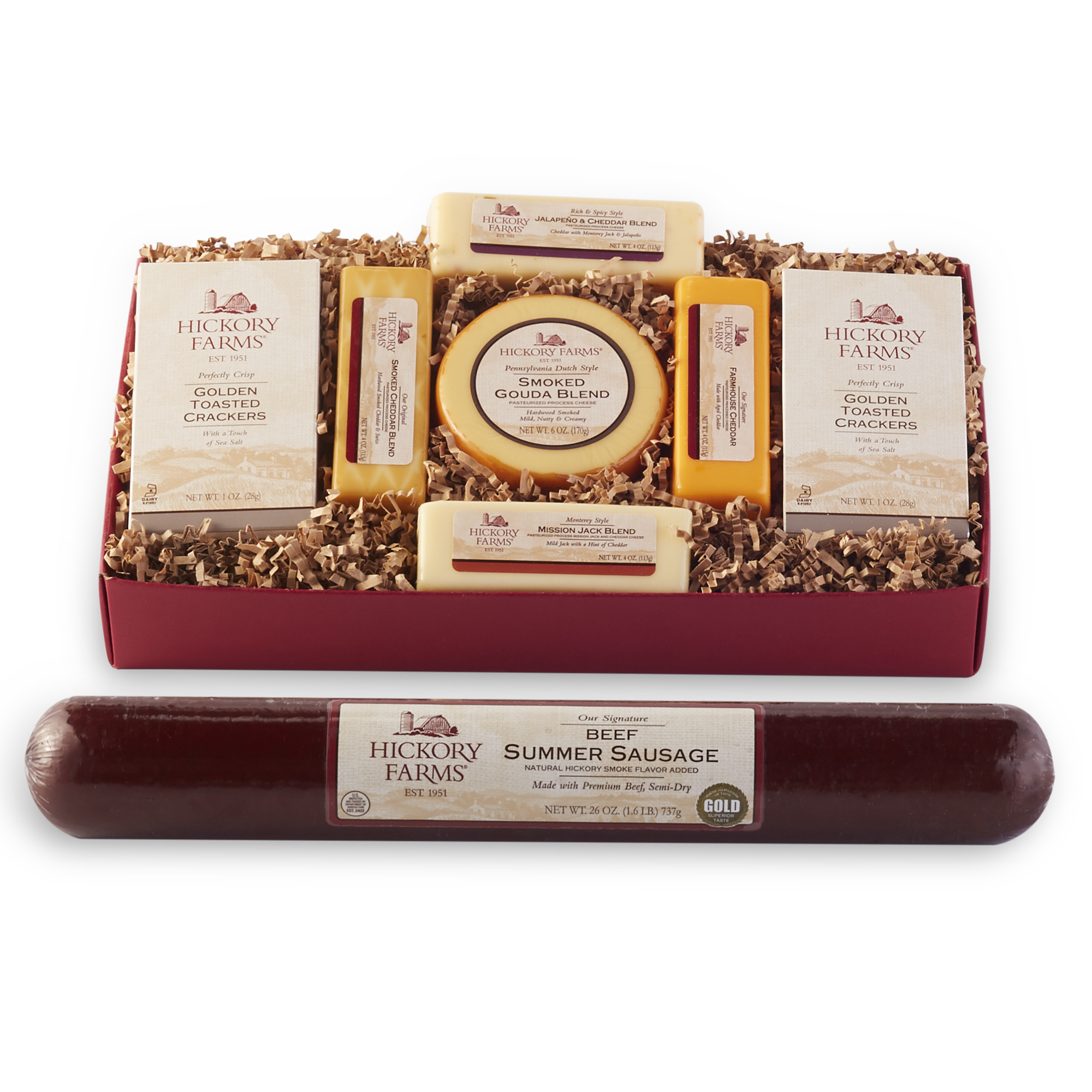 Gift box includes 26 oz. beef summer sausage, a variety of cheese, and golden toasted crackers