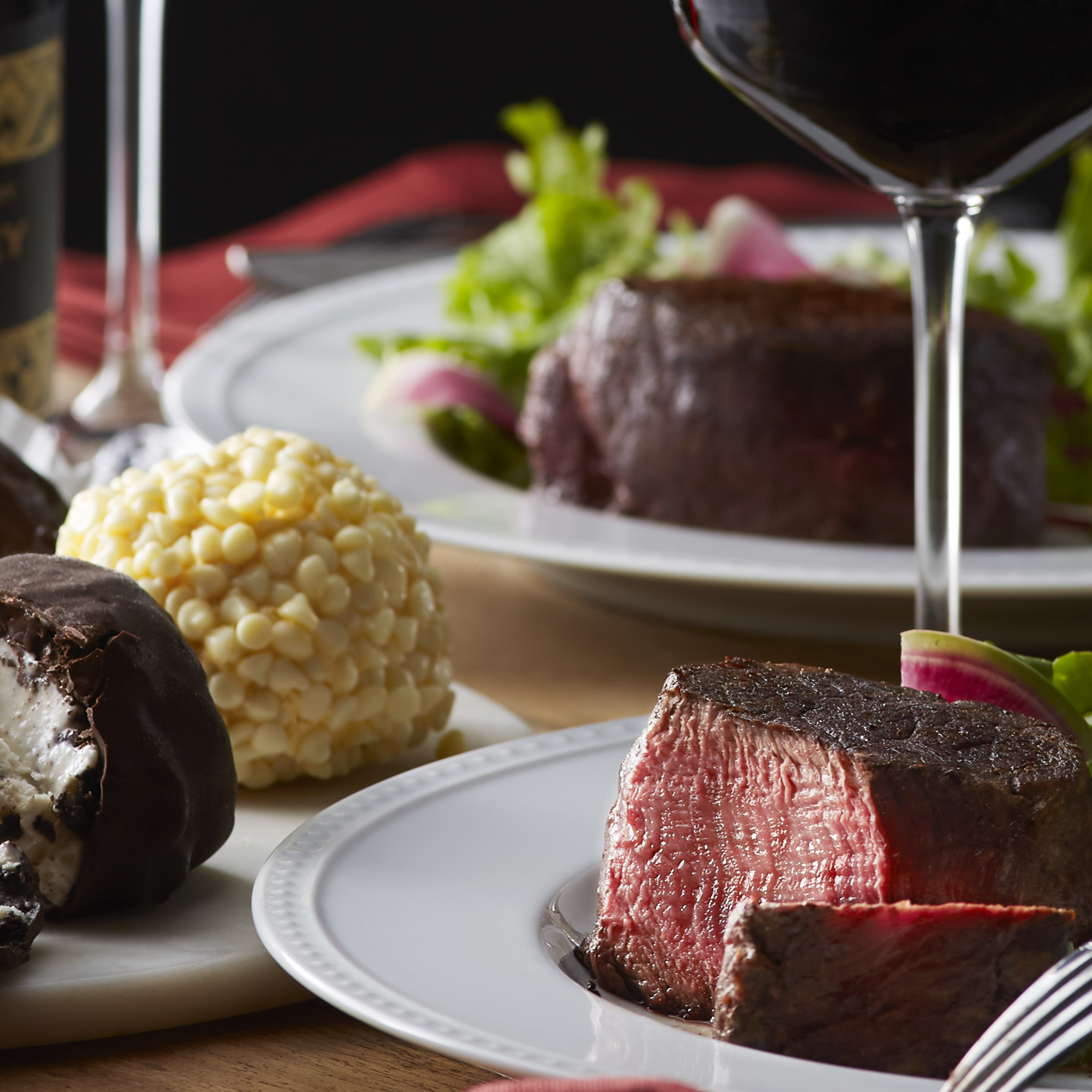 Filet Mignon and luscious Italian Ice Cream Truffles