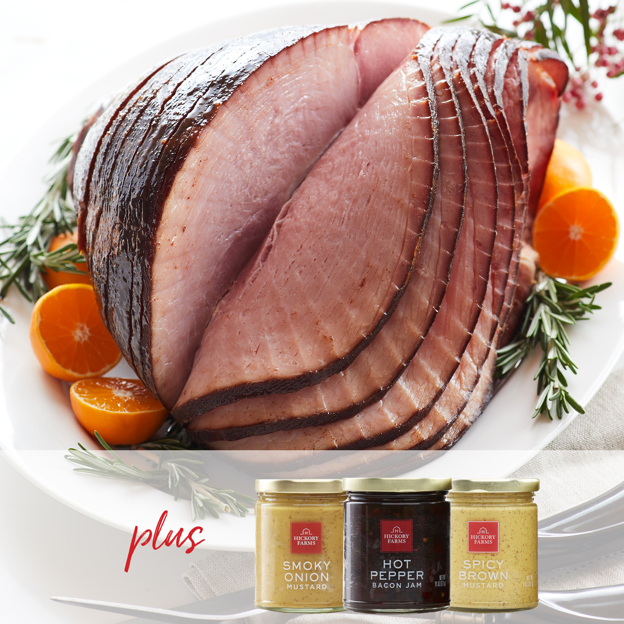 Our delicious HoneyGold Spiral Sliced Ham paired with three of our favorite condiments.