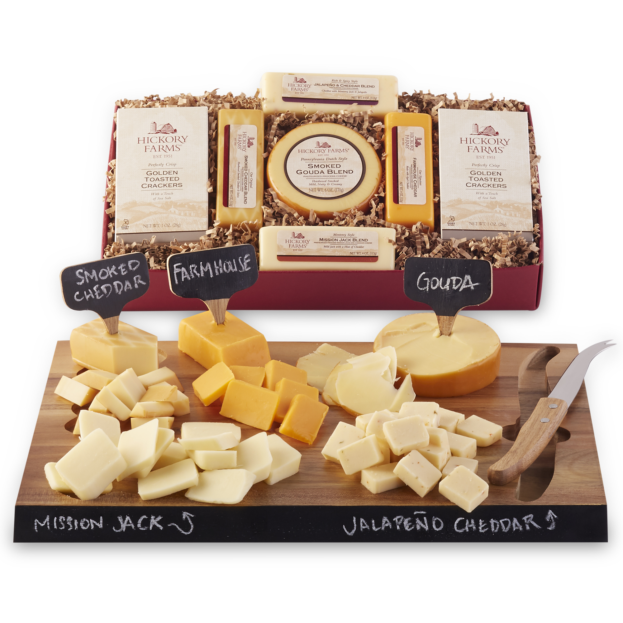 Party set includes a variety of cheeses and an acacia wood serving set kit